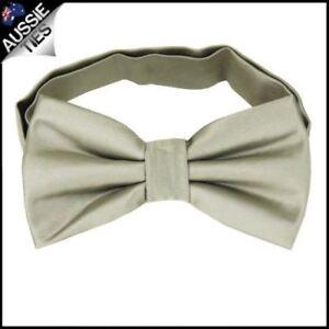 Mens-Champagne-Platinum-White-Gold-Plain-Bow-Tie