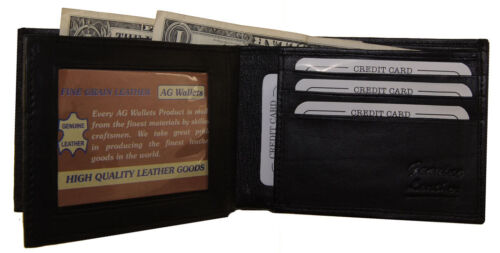 Black ID Center Flap Premium Leather Credit Card Holder MENS BiFold Wallet