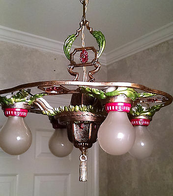 Vintage Art Deco Chandelier Restored Cast Iron  Ready to Install