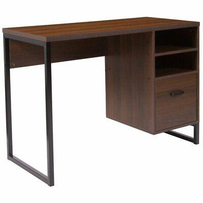 Flash Furniture Computer Desk In Rustic, Flash Furniture Computer Desk With 3 Drawer Pedestal