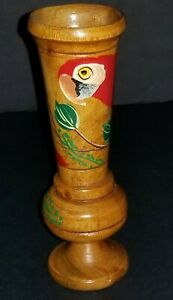 VINTAGE HAND PAINTED COLORFUL PARROT WOODEN VASE