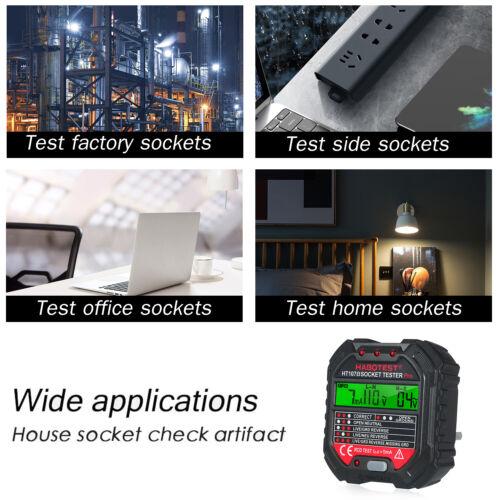 HABOTEST GFCI Outlet Tester with Voltage Display 90-250V Socket Tester Detector