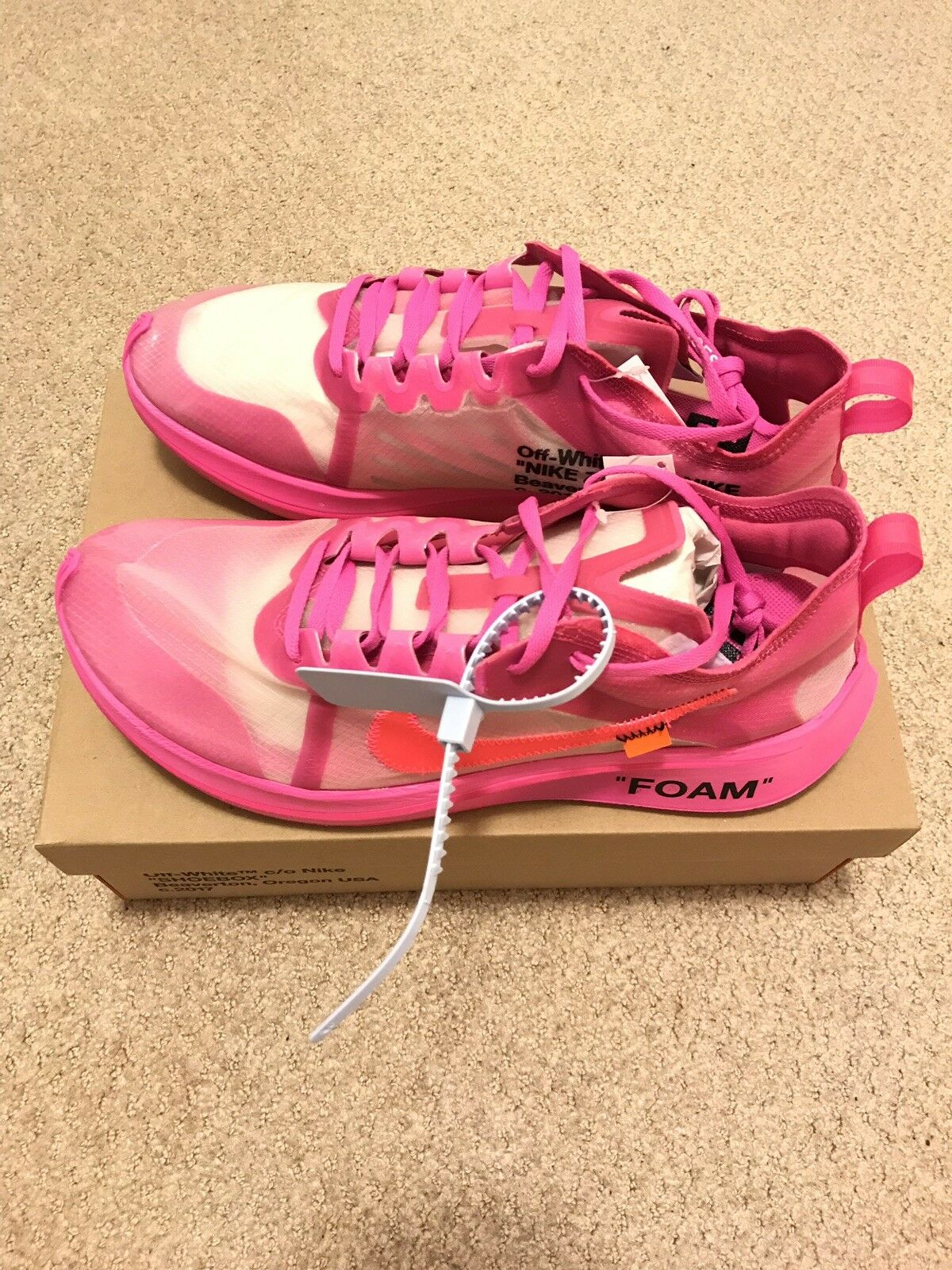 Nike The Ten Off White X Nike Zoom Fly Tulip Pink Size 11.5
