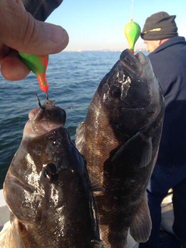 18 Premium Glow Sparkie Jigs 3//4 1.5  Blackfish Jig Tautog Tog Kit free Box 1