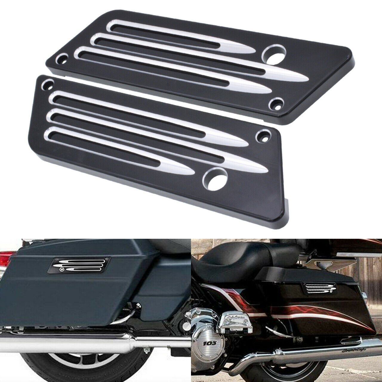 Black Aluminum CNC Hard Saddlebag Latch Cover For Harley 1993-2013 Touring FLHT