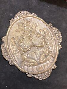 Medaglione Ihs Gesù  Placca Ovale Ottone Cesello Charitas 10x12 Cm angeli