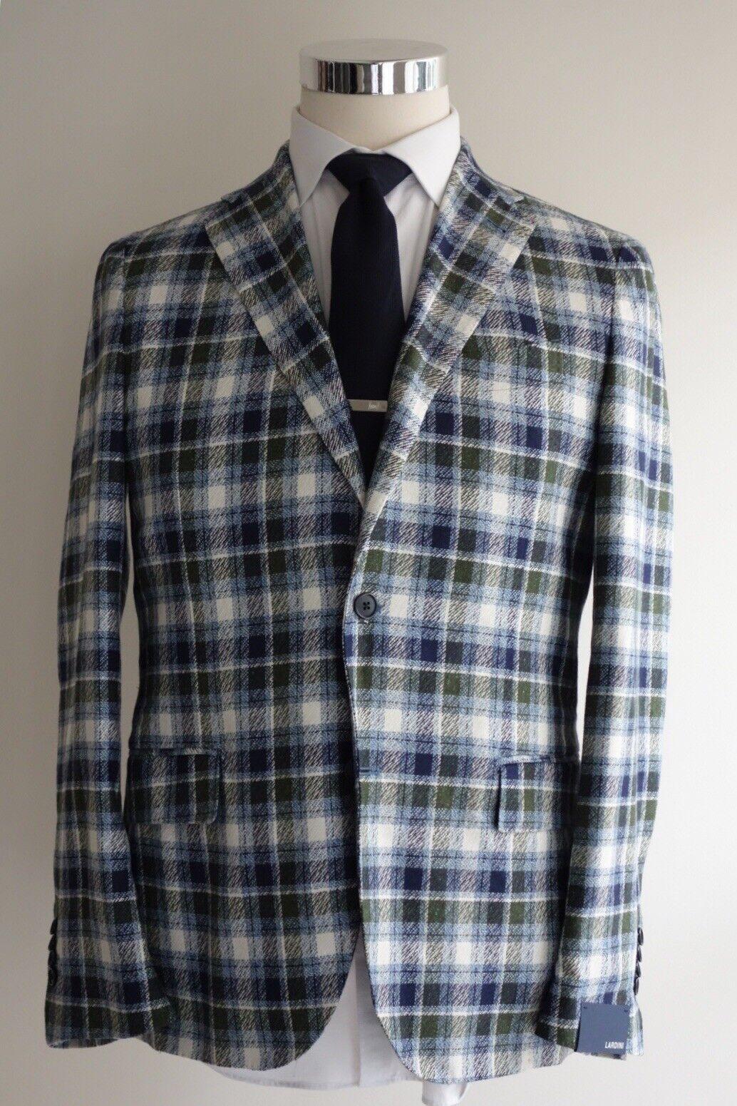 NEW 1890 Lardini 100% Silk Sport Coat 40R/50R Grün Blau Tartan Unlined Plaid