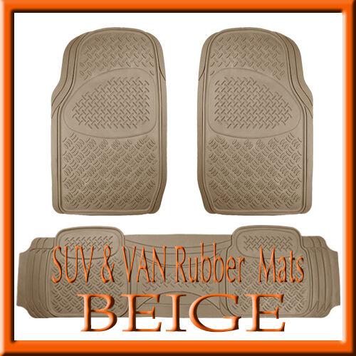 3PCS BEIGE  RUBBER FLOOR MATS Fits HEAVY DUTY SUV TRUCK VAN TAN