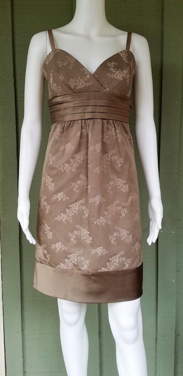 BCBG Max Azria Mocha Cotton Silk Floral Dress 10