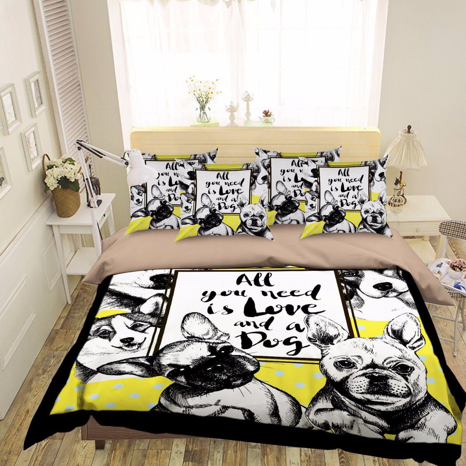 3D Anime Hund 907 Bett Kissenbezüge steppen Duvet Decken Set Single DE Kyra