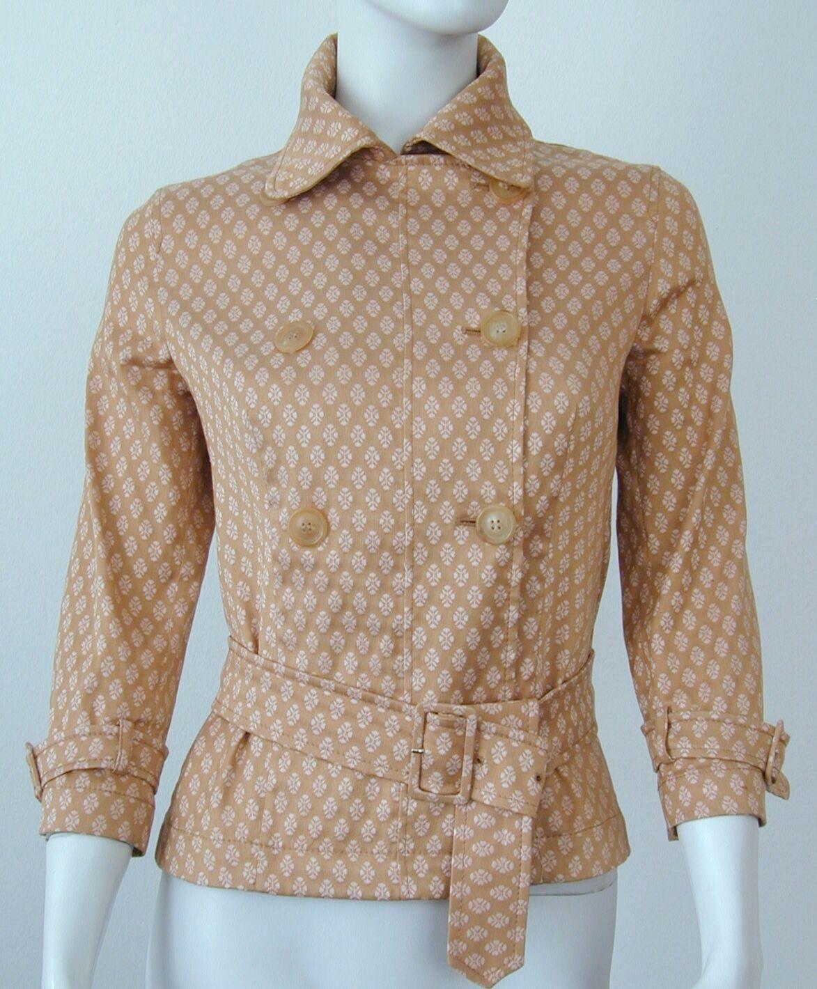PIAZZA SEMPIONE tan Doble Abotonadura Abotonadura Abotonadura Manga 3 4 chaqueta con cinturón elástico que nos 42 6 56f324