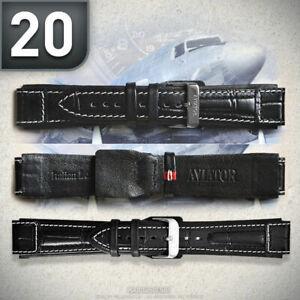 AVIATOR-Lederarmband-PILOT-FLIEGERUHREN-Uhrenarmband-Uhrenband-gebuerstet-20mm