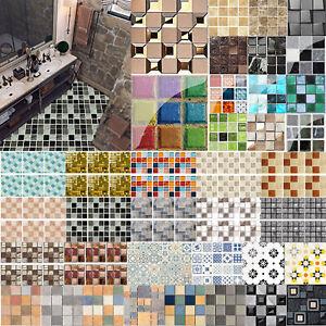 19pcs Mosaic Tile Autocollant Mural PVC imperméable Tiles Decals Home KITCHEN Decor