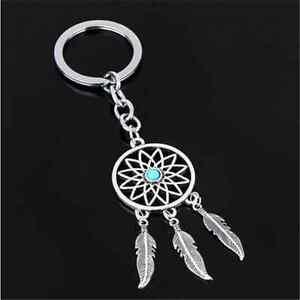 Modish-Silver-Tone-Key-Chain-Ring-Feather-Tassels-Dream-Catcher-Keyring-Keychain