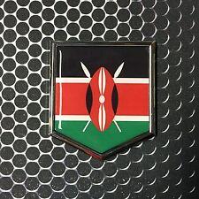 """Kenya Flag Domed CHROME Emblem Flag Car 3D Sticker 2x 2.25"""" Decal Nairobi"""
