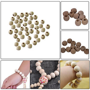 Natural Colour Wooden Round Beads for Making Jewellery Keychain DIY Arts Crafts