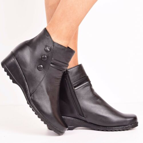 New Ladies Women Ankle Boots Winter Low Heel Casual Side Zip Warm Shoes Size 3-8