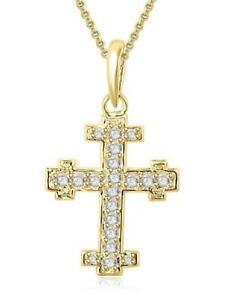 Cross-Pendant-Necklace-Round-Cut-Diamond-SI1-G-0-45-Ct-Prong-Set-14K-Yellow-Gold
