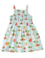Gymboree Hula Baby Blue W/ Beach Scenic Woven Dress 6 12