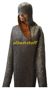 Chain-Mail-Shirt-Flat-Rivet-Solid-Washer-Chain-Mail-Coif-amp-Ventail-Large