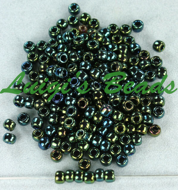 8//0 Round TOHO Japan Glass Seed Beads#84 Metallic Iris//Green Brown 10 grams