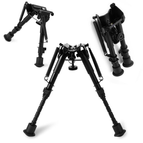 Adjustable 6 to 9 Inch Legs Sniper Hunting Riflescope Bipod Sling Swivel Black