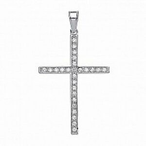 Silver cz set large cross pendant sterling silver cross necklace 42 image is loading silver cz set large cross pendant sterling silver aloadofball Gallery