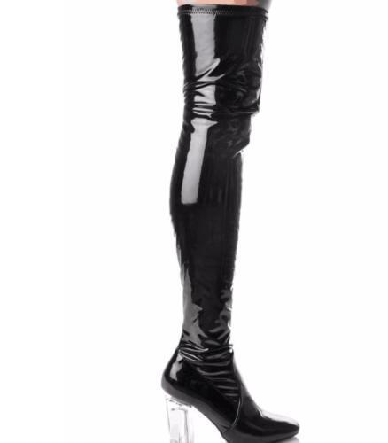Mujer Zapatos De Tacón Bloque claro Botas charol Sobre la Rodilla Botas claro Largo Zapatos de Alto del muslo Sy 92e58e
