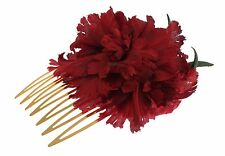 NWT DOLCE & GABBANA Red Silk Rose Garofani Gold Runway Hair Comb Stick Accessory