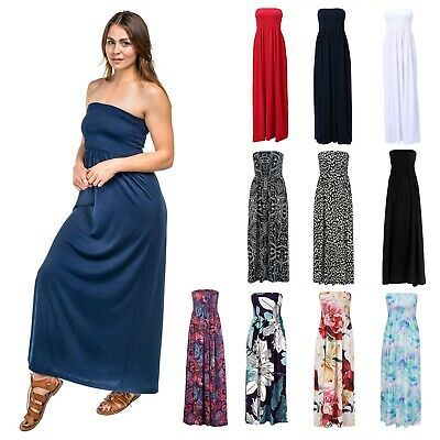 Women/'s Floral Maxi Dresses Plus Size Tube Top Long Shirring Sundress Cover Up