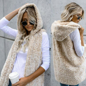 Women-Winter-Hooded-Outwear-Jacket-Faux-Fur-Vest-Coat-Sleeveless-Warm-Waistcoat