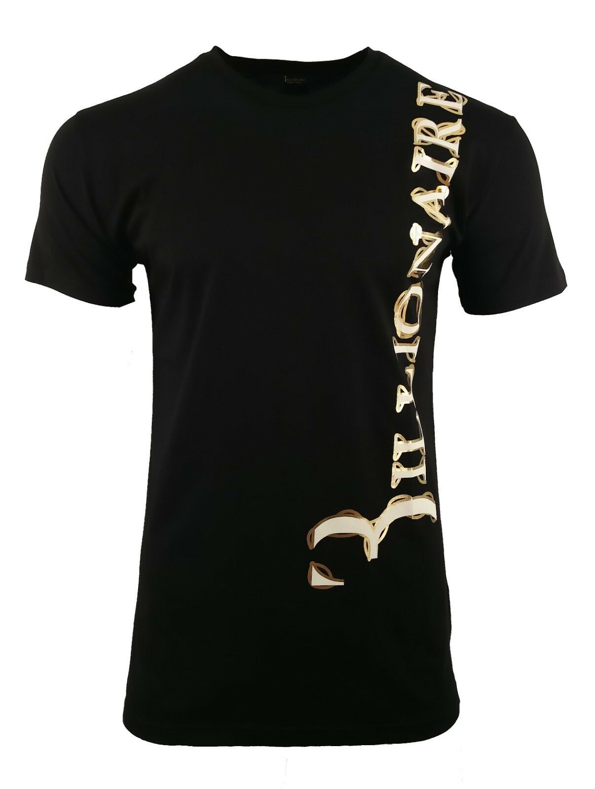 BNWT MILIARDARIO COUTURE  IN OTTONE  T-Shirt Bianco Nero oro Metallizzato Stampa RARA