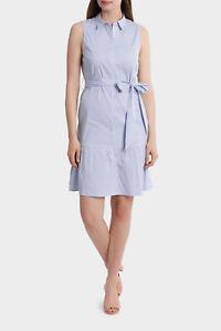 NEW-Basque-Stripe-Ruffle-Hem-Shirt-Dress-Blues