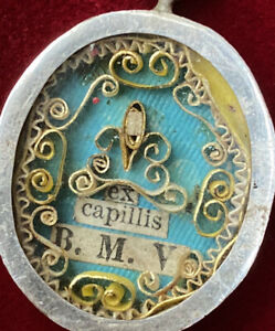 1st-Class-HAIR-RELIC-VIRGIN-MARY-Sterling-Silver-CATHOLIC-Reliquary-Locket-Jesus