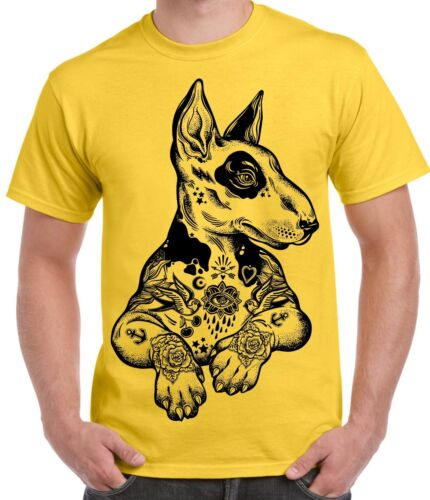 Pit Bull Terrier avec tatouages hippie Large Print Tee-shirt Homme