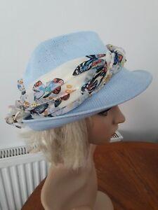 Summer beach Ladies Women Trilby Style Hat light blue   mulit one ... a87289fffe3