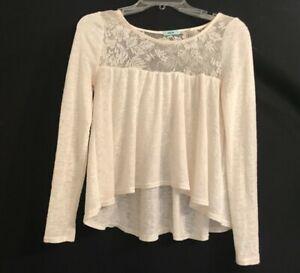Urban-Outfitters-Kimchi-Blue-XS-White-Ivory-Top-Sweater-Lace-Yoke-Hi-Lo-Babydoll