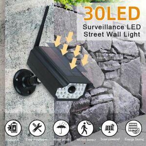 Solar Wall Lights Dummy Fake Camera 30 LED Outdoor CCTV Security Surveillance