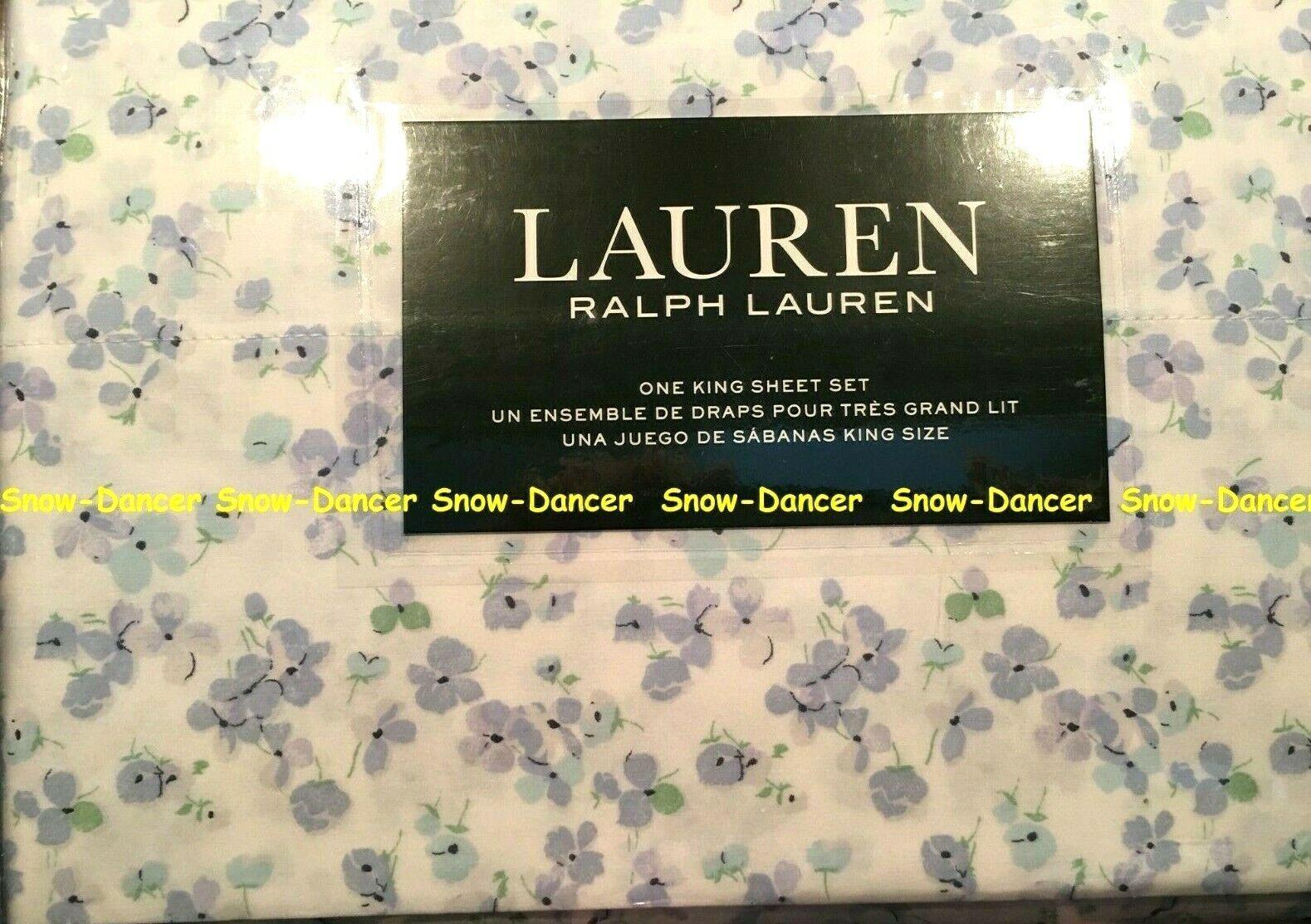 Ralph Lauren King Sheet Set 100% Cotton Spring Floral X-Deep Fitted Sheet