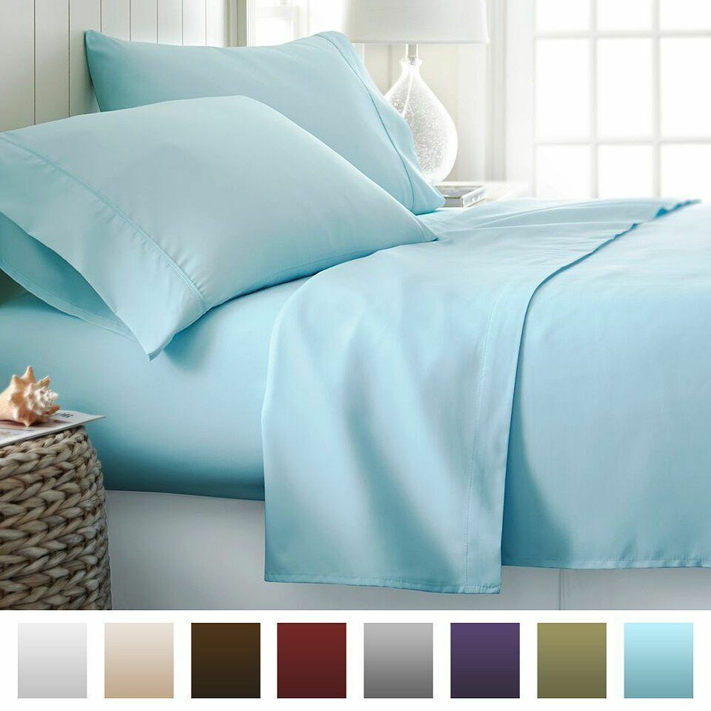 1 Fitted Sheet & 2 Pillowcase Light blueeeee Solid Egyptian Cotton 1000 Thread Count