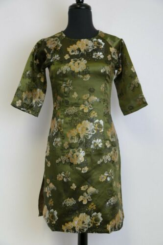 Ao Dai Vietnam Sizes Available Olive Green Floral Jacquard Cach Tan