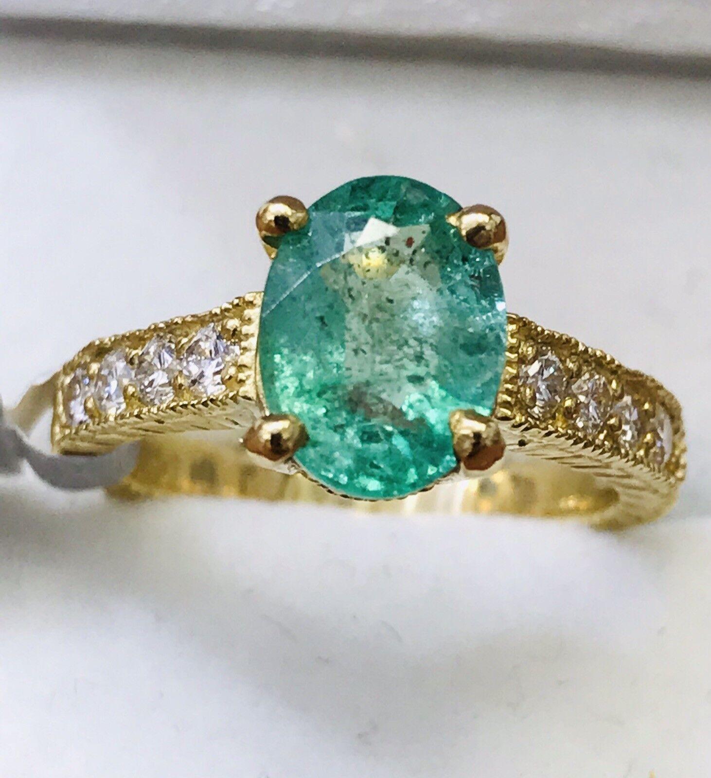14k Solid Yellow gold Natural Diamond & Emerald ring   May Birthstone