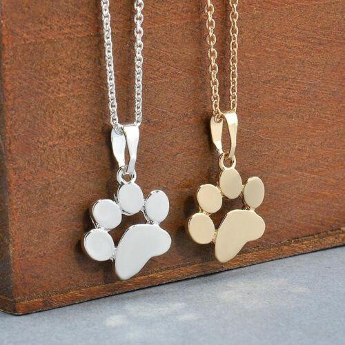New Dog Pet Cat Animal Paw Print Footprint Necklace Pendant Chain Women Jewelry