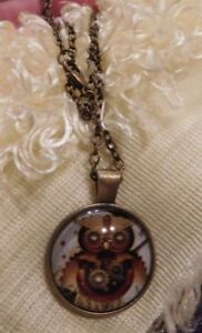 Necklace-Steampunk-Owl-Glass-Dome-24-034-Chain-Antique-Brass