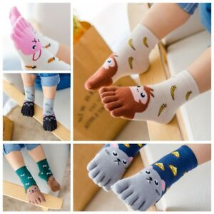 Boys Girls Five Fingers Sock Animal Kids Baby Hosiery Warm Toe Socks Gift New