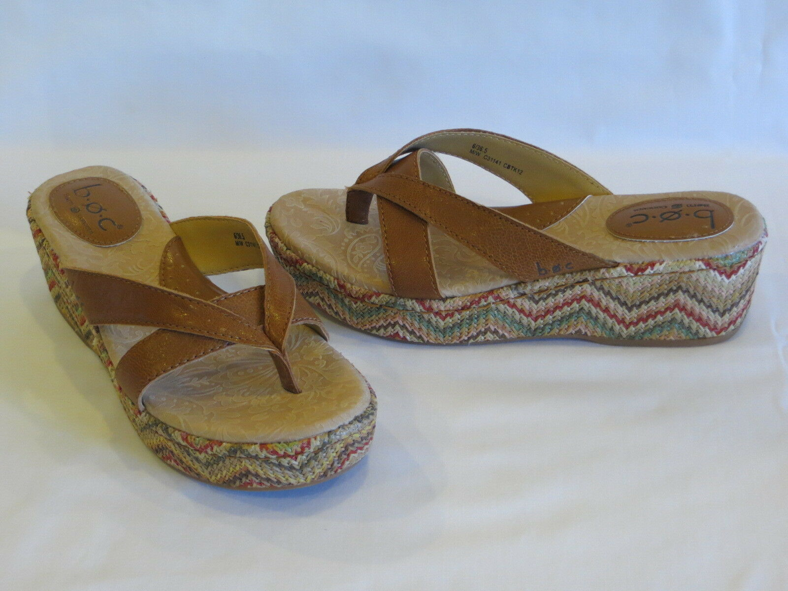 B.O.C. BORN Concept Brown/Multi Leather/Fabric Strappy Thongs Wedge Heel - 6M/W