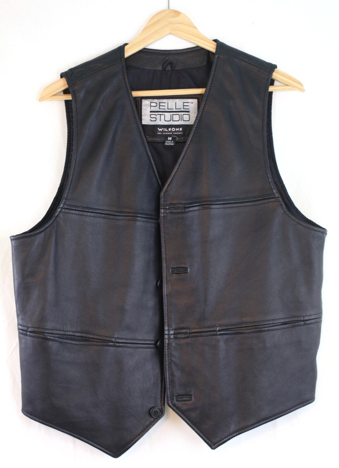 Wilsons Leder Pelle Studio Classic Leder Vest Four Button Medium Preowned