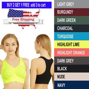 Womens Yoga Sports Bra Fitness Stretch Workout Seamless Racerback Padded Tops T5