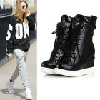 Fashion Sneaker Womens Lace Up Buckle Hidden Wedge ANkle Boot Riding Chic SHoes
