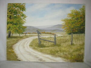 vintage Verne McKinzie oil painting original signed art Winding Road to Autumn